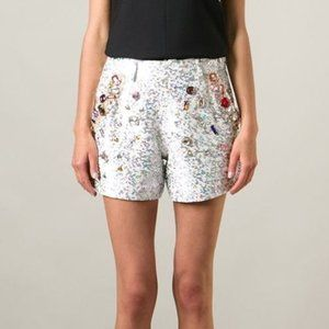 Ashish White Jewel Embellished Sequin Shorts
